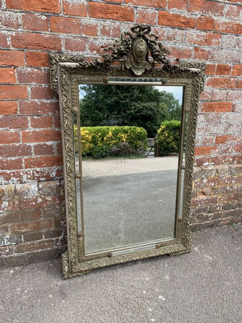 a fabulous good size antique french 19th century carved wood and gesso original silvergilt mirror