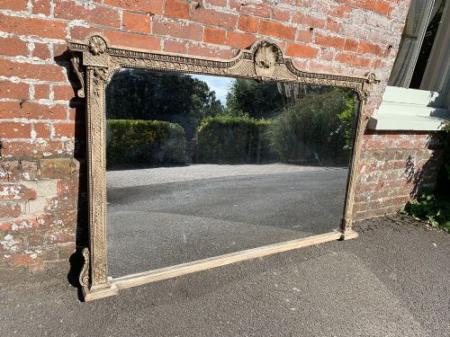 a spectacular large antique english 19th century carved wood and gesso painted overmantle mirror