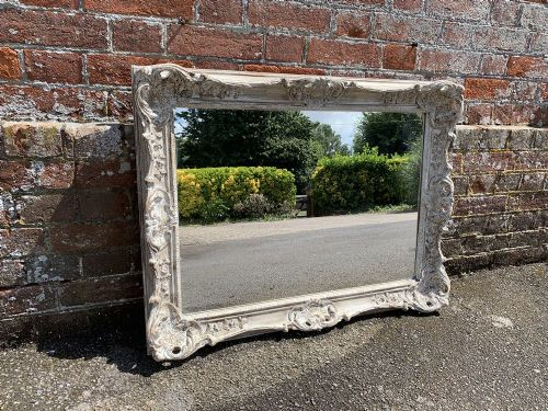 a highly useful size early 20th century english carved wood painted mirror