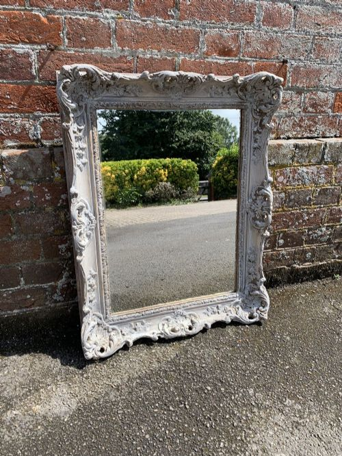 a stunning good size early 20th century english carved wood painted mirror
