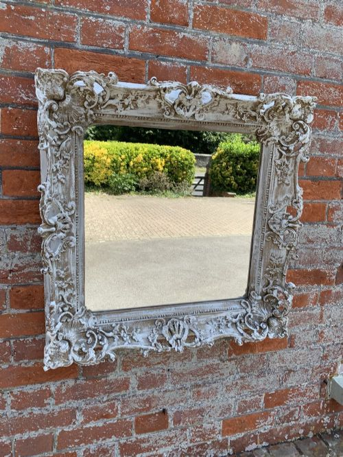 a wonderful useful size antique 19th century english carved wood gesso distressed painted mirror