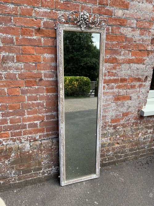 a fabulous antique 19th century french carved wood gesso distressed painted pier mirror
