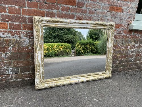 a wonderful highly useful size antique 19th century french carved wood gesso original distressed mirror