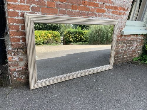 a fabulous large antique 19th century french carved wood painted plain ribbed mirror