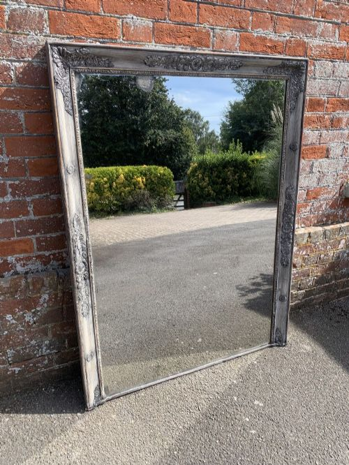 a wonderful good size antique 19th century french carved wood gesso painted louis philippe mirror