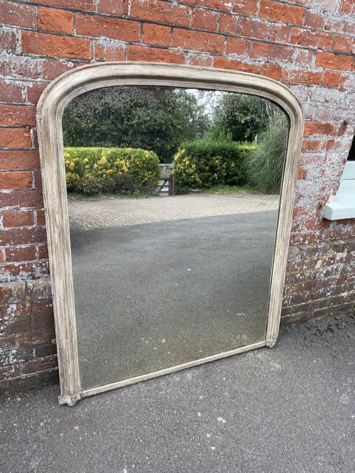 a wonderful antique 19th century english carved wood gesso arched top painted overmantle mirror