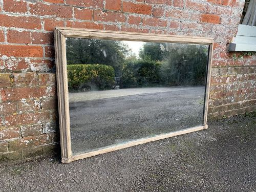 a highly useful size antique 19th century english carved wood gesso painted plain overmantle mirror