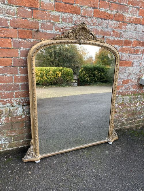 a delightful good size antique 19th century english carved wood gesso original gilt arched top overmantle mirror