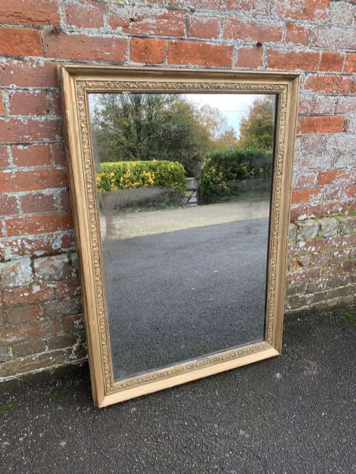 a wonderful highly useful size antique french 19th century carved wood gesso original gilt mirror