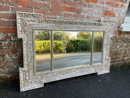 a superb antique 19th century french carved wood gesso painted triple plated framed mirror
