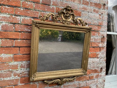 a delightful good size antique french 19th century carved wood gesso original gilt ribbed framed mirror