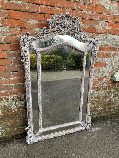 a spectacular large antique french 19th century painted carved wood gesso original gilt shaped top cushion mirror