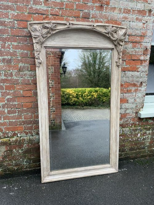 a stunning highly unusual large antique french 19th century carved painted colonial mirror