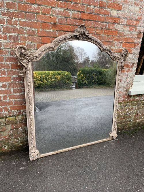 a superb large antique french 19th century carved wood and gesso shaped top painted mirror