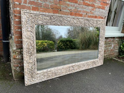 an exceptional large antique french 19th decorative carved wood painted mirror