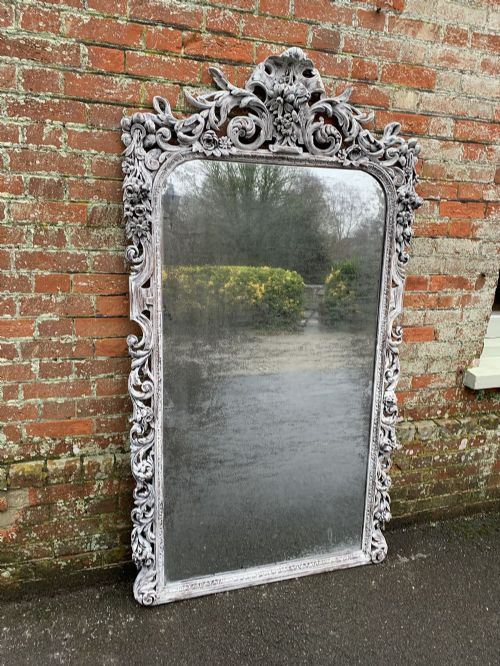 a superb large antique french 19th century carved wood painted ornate framed mirror
