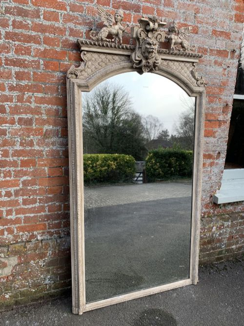 an absolutely stunning large shaped top antique 19th century french carved wood gesso painted mirror