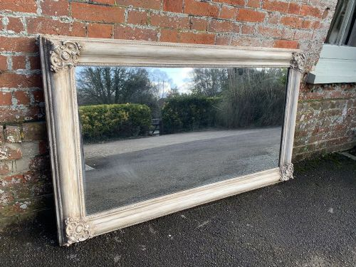 a fabulous large antique french 19th century carved wood gesso painted louis philippe mirror
