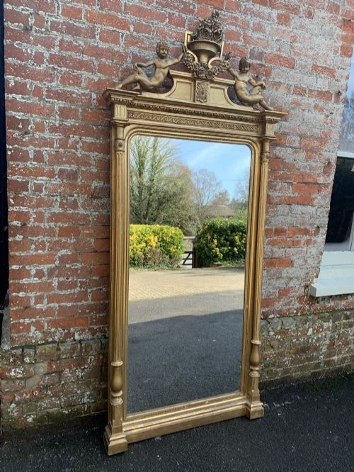 a spectacular large antique french 19th century carved wood gesso original gilt column framed mirror