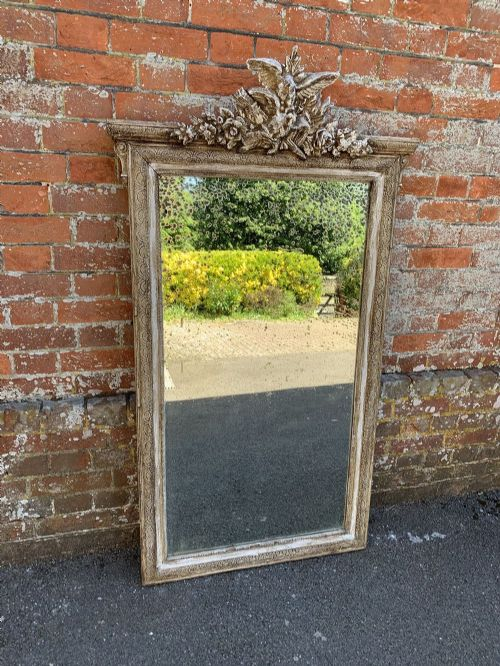 a good size large antique 19th century french painted very decorative painted mirror