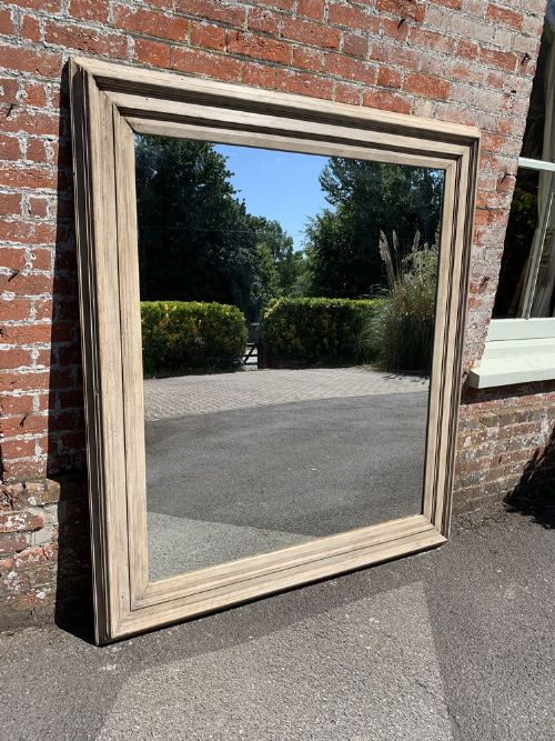 a stunning large antique french 19th century carved wood painted ribbed framed mirror