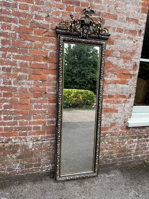 a fabulous large antique french 19th century carved wood gesso original painted silvergilt pier mirror