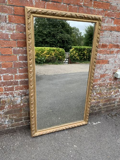 a fabulous large antique french 19th century carved wood gesso original gilt rope twist framed mirror