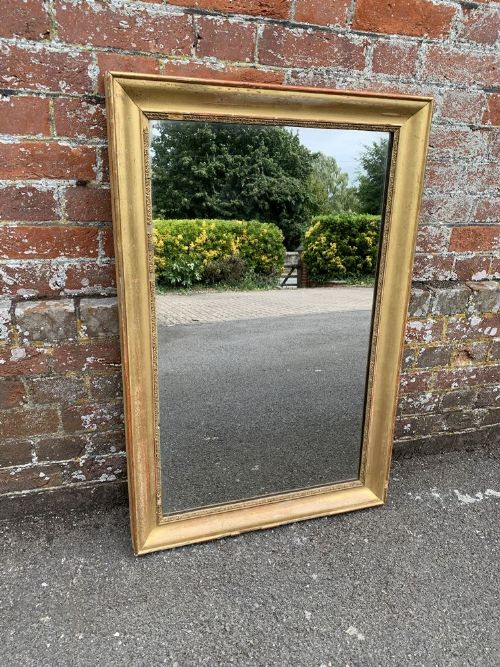 a highly useful size antique french 19th century carved wood gesso original gilt plain mirror