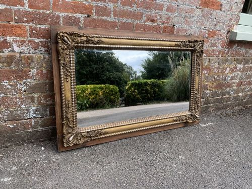 a superb large antique distressed french 19th century carved wood gesso original silvergilt ribbed framed mirror
