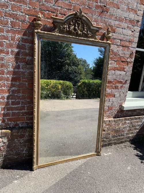 a delightful large antique french 19th century carved wood gesso original silvergilt mirror