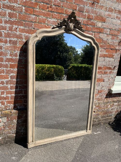 a stunning large antique french 19th century carved wood painted shaped top mirror