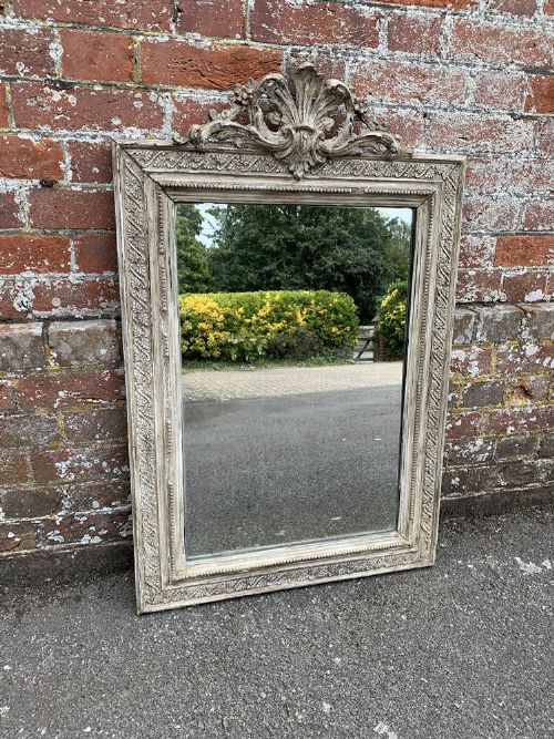 a highly useful size antiques french 19th century carved wood gesso distressed painted mirror