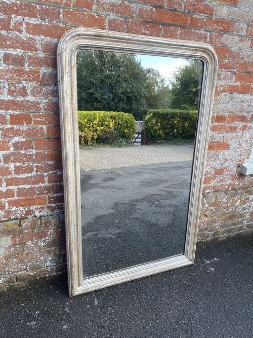 a fabulous large antique french 19th century carved wood and gesso arched top original silvered louis philippe mirror
