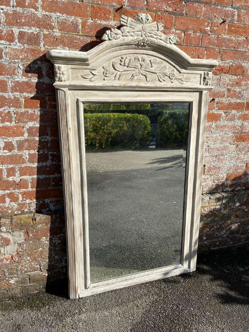 a wonderful large antique french 19th century carved wood painted shaped top mirror