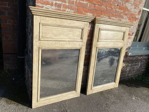 a stunning nr pair of antique 19th century french carved wood distressed painted mirrors