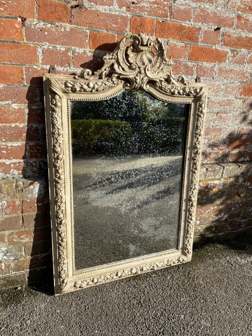 a wonderful good size antique french 19th century carved wood gesso painted shaped top mirror