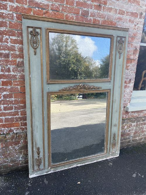 a superb large antique french 19th century carved wood gesso original distressed painted gilt trumeau mirror