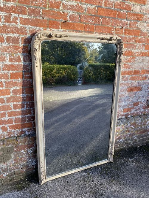 a delightful large antique french 19th century carved wood gesso arched top ornate framed painted mirror