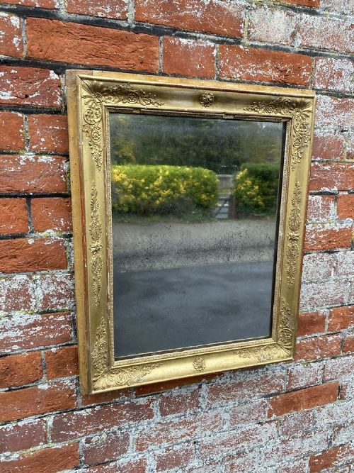 a delightful useful size antique french 19 th century carved wood and gesso original gilt louis philippe mirror