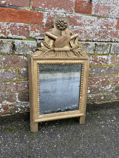 a highly useful size early antique french 19th century carved wood original gilt mirror