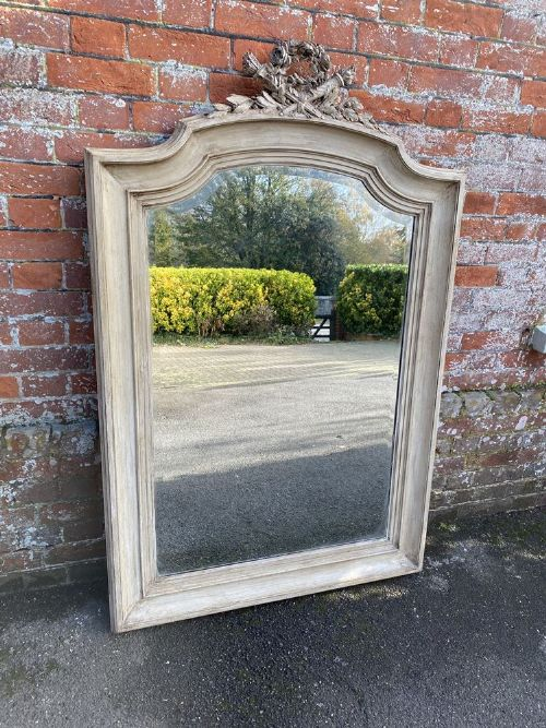 a fabulous large antique french 19th century carved wood painted shaped top mirror