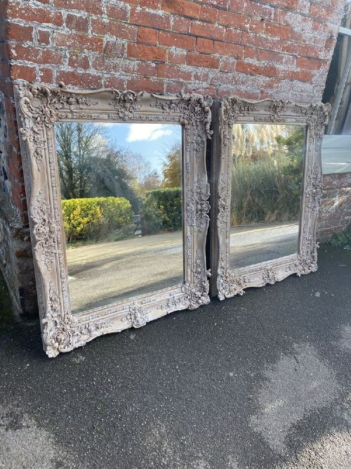 a stunning pair of highly unusual antique english 19th century carved wood gesso painted mirrors