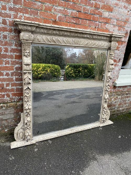 a spectacular large antique english 19th century carved wood ornate painted framed mirror