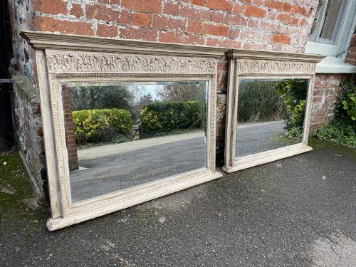 a fabulous highly unusual pair of antique english 19th century carved wood and gesso painted overmantle mirrors