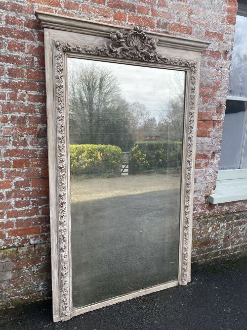 an exceptional large antique french 19th century carved wood gesso ornate framed painted mirror