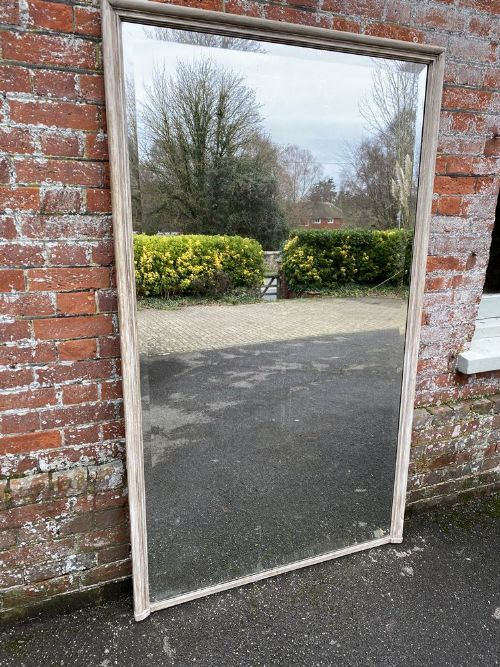 an exceptional large antique french 19th century carved wood painted plain mirror