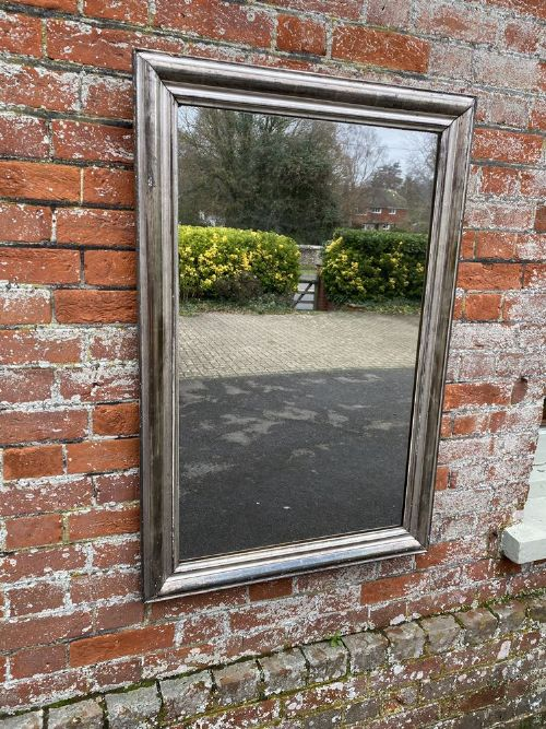 a superb useful size antique french 19th century carved wood gesso original silvered bistro mirror