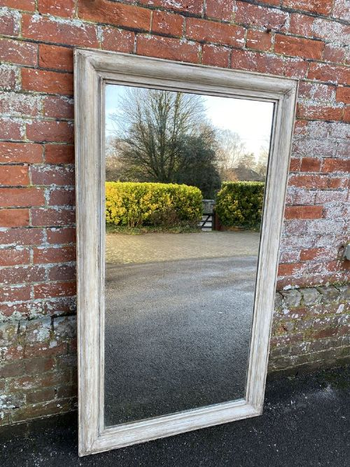 a highly useful size antique french 19th century carved wood painted plain mirror