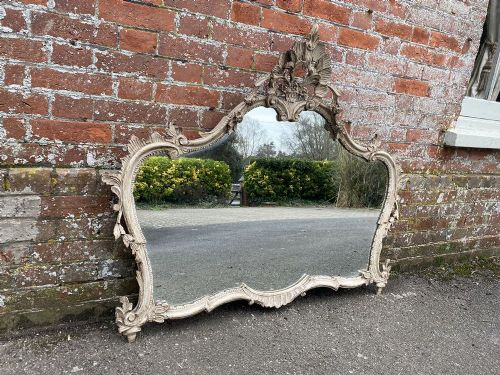 a fabulous highly useful size italian 20th century carved wood painted shaped mirror
