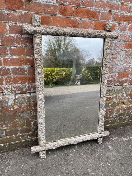 a stunning antique french 19th century carved wood gesso ornate framed painted cross mirror